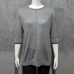 Thyme & Honey grey blue lined sweater